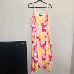 Lane Bryant Asymmetrical Floral Midi Dress w/ Tie